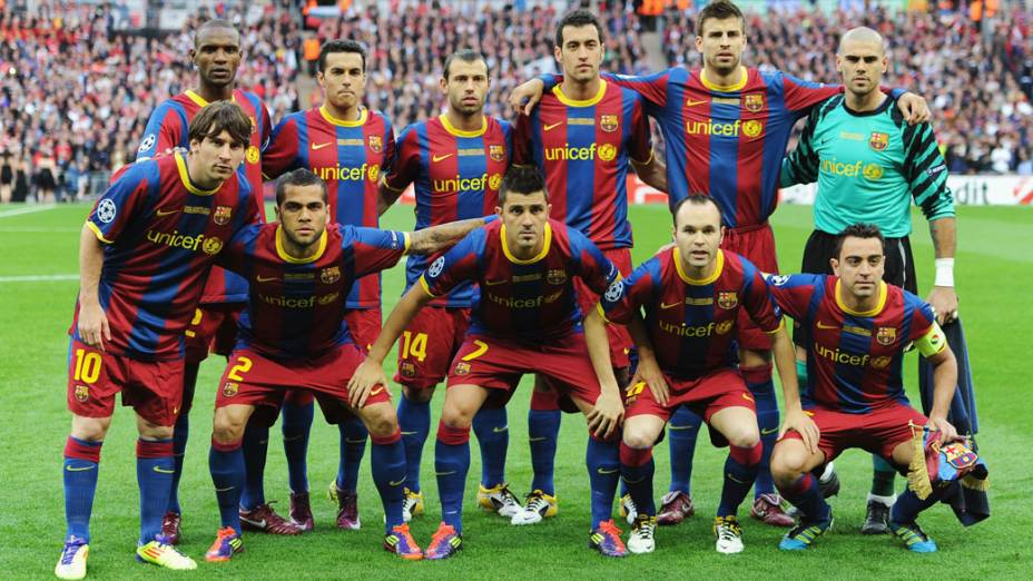 Time do Barcelona antes do início da final da UEFA Champions League, em Londres