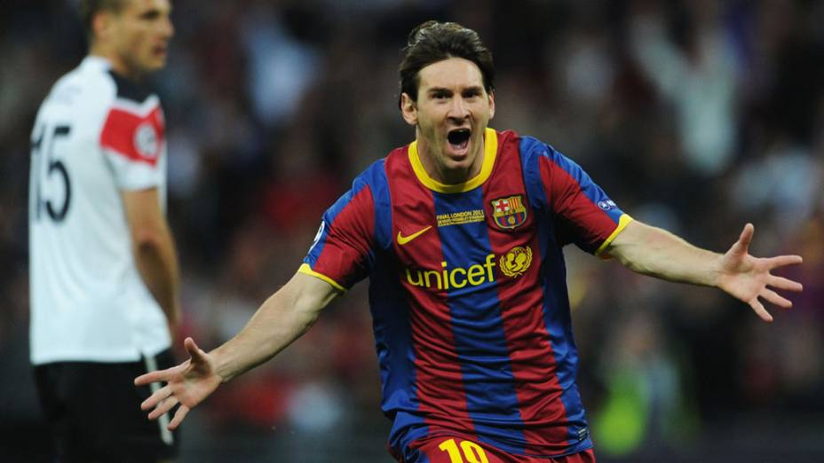 Lionel Messi comemora o segundo gol do Barcelona na final da UEFA Champions League contra o Manchester United, em Londres