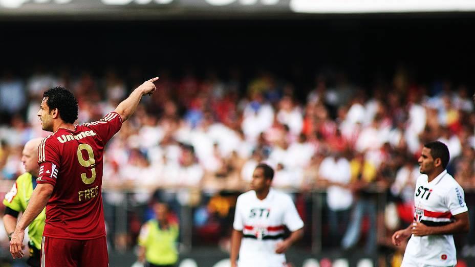 Jogador Fred durante partida entre São Paulo e Fluminense, no estádio do Morumbi