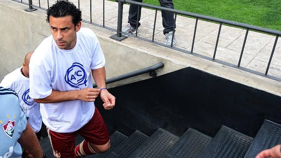 Jogador Fred antes da partida entre São Paulo e Fluminense, no estádio do Morumbi
