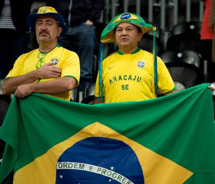 Torcida brasileira no jogo entre Brasil e Rússia, no vôlei