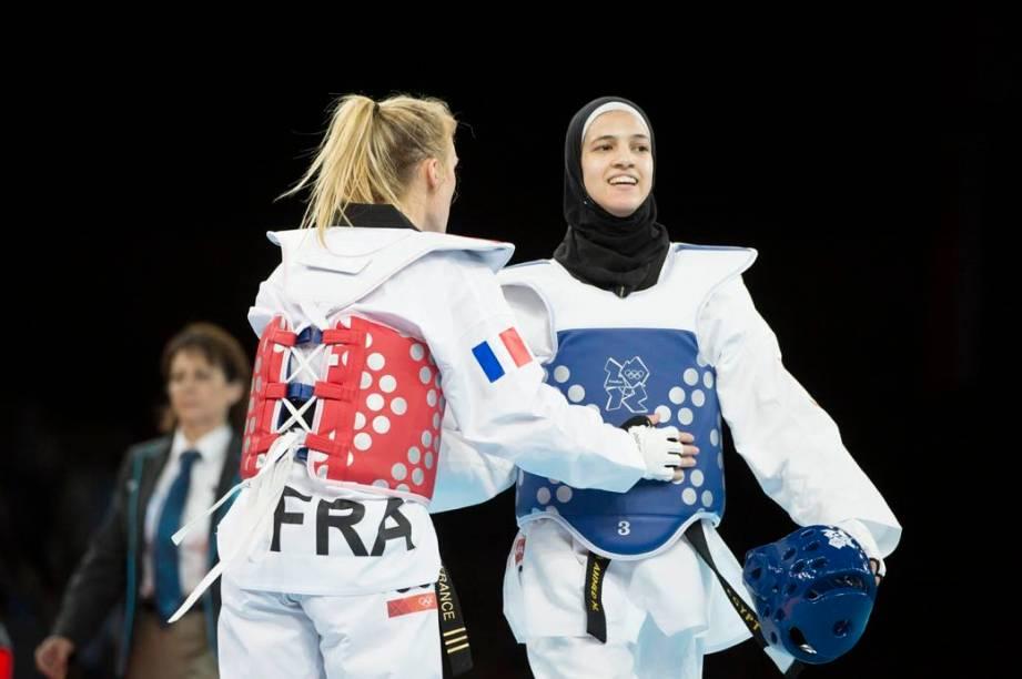 A atleta Wahba Hedaya, do Egito, no taekwondo