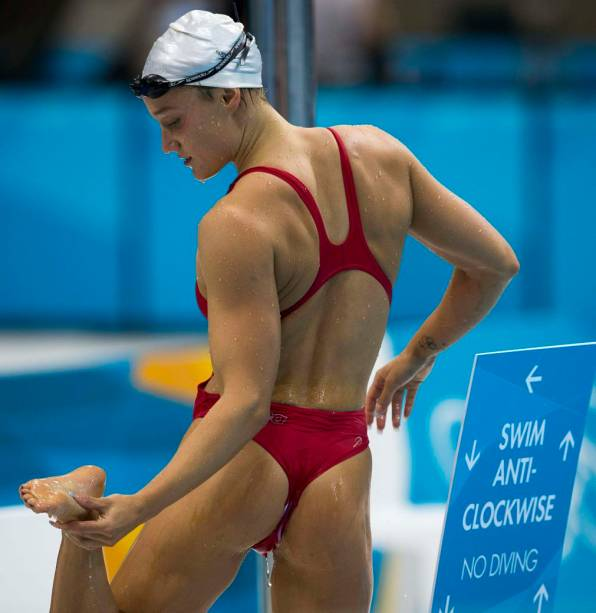 Atleta suíça em treino no Centro Aquático do Parque Olímpico de Londres
