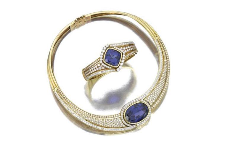 Exuberância: o conjunto de colar e bracelete com diamantes e tanzanitas. Valor estimado em 50.000 reais. Arrematado por 176.800 reais