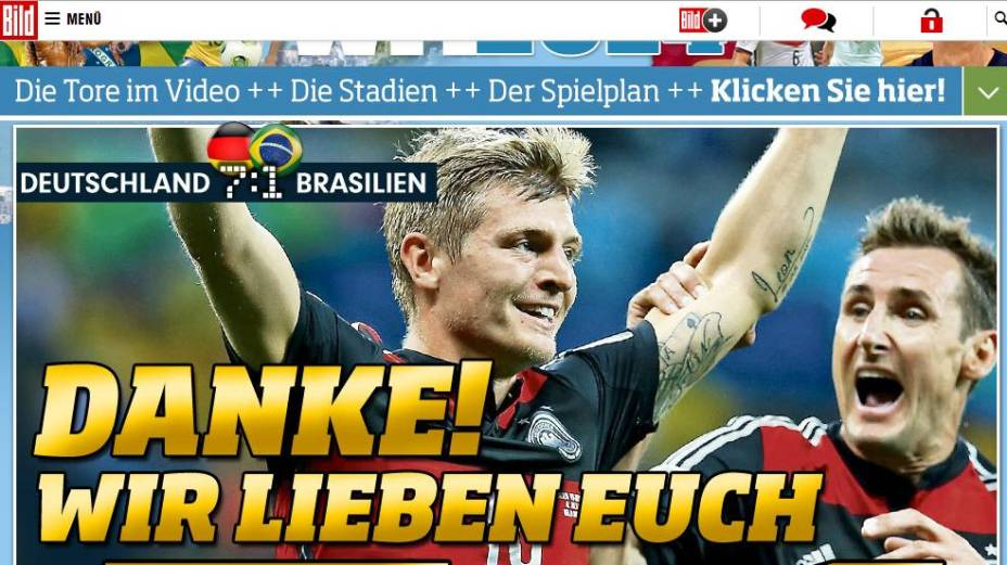 """""""Obrigado. Nós amamos vocês"""", foi a manchete do jornal alemão <em>Bild</em> ao final da partida"""
