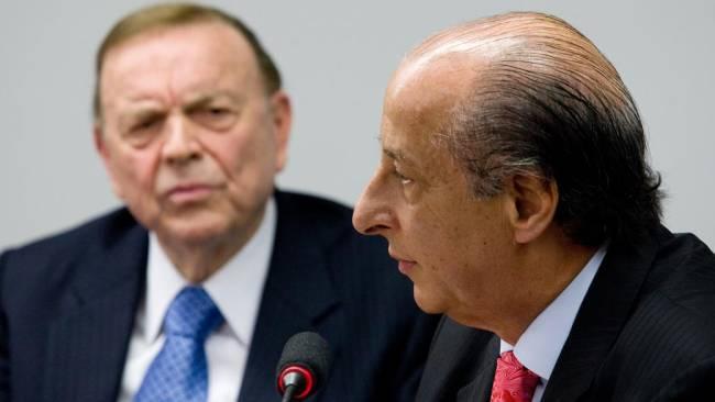 Os presidentes da CBF, José Maria Marin, e da federação paulista, Marco Polo Del Nero, em audiência pública sobre a Copa de 2014, na Câmara, na semana passada