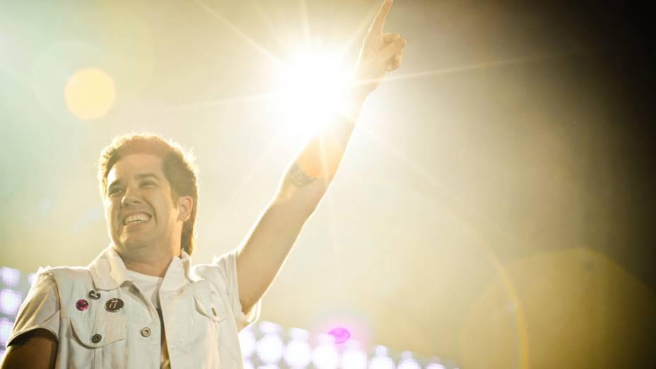 Rogério Flausino, do Jota Quest, durante o show no palco Mundo, no quinto dia do Rock in Rio, em 30/09/2011