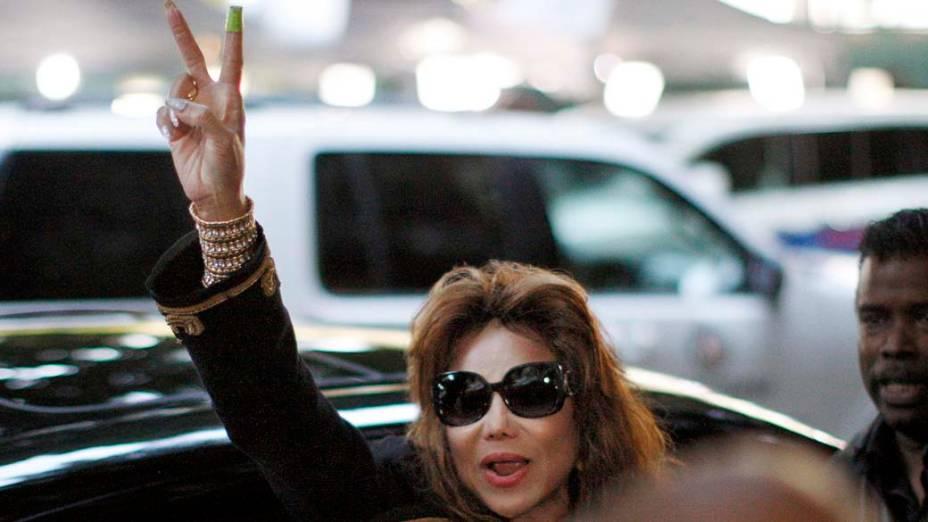 LaToya Jackson após a leitura do veredicto no julgamento do médico Conrad Murray, declarado culpado pela morte de Michael Jackson, em Los Angeles