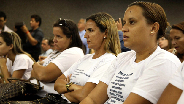 Familiares dos réus no processo, durante júri popular no Fórum de Maceió