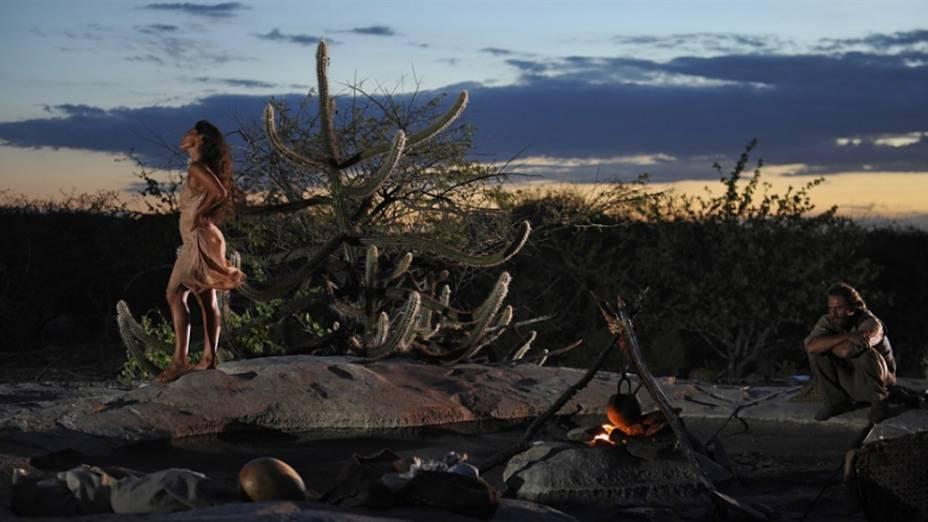 Juliana Paes como Gabriela e Daniel Ribeiro como Clemente, durante as gravações de Gabriela, feitas no Piauí e na Bahia