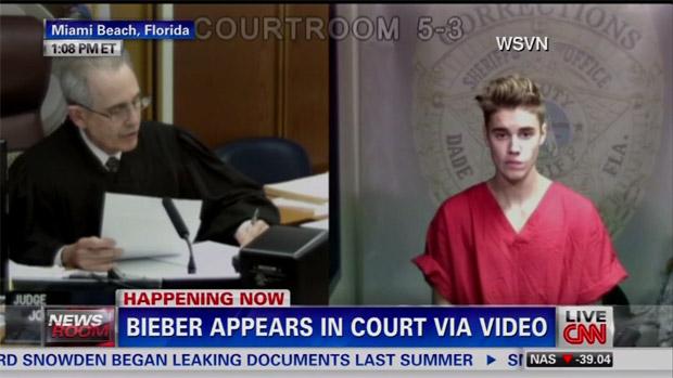 Justin Bieber, em audiência a que teve de participar depois de ser detido dirigindo embriagado