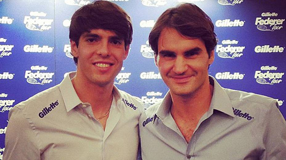 Kaká e Roger Federer se encontram em evento de patrocinador em Madri