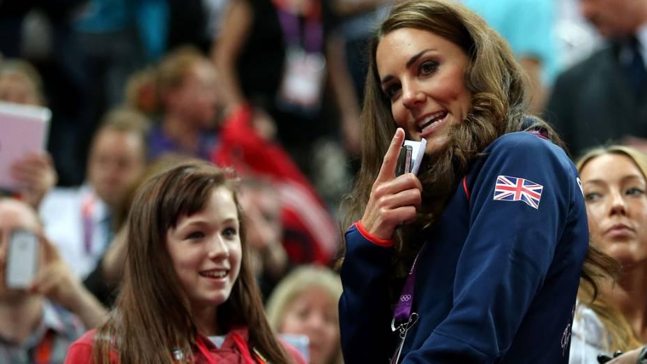 <br><br>  A Duquesa de Cambridge, Kate Middleton durante a competição da ginástica artística na arena de North Greenwich em Londres