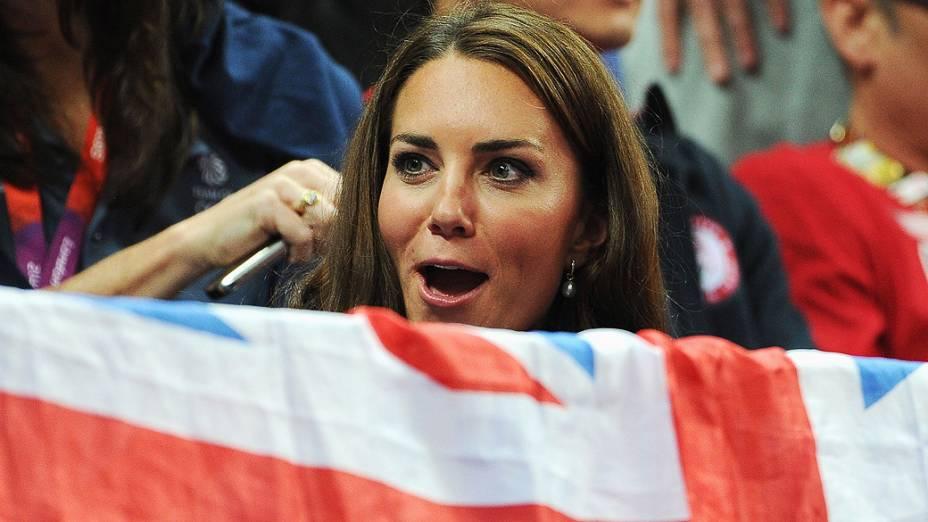 A Duquesa de Cambridge, Kate Middleton durante a competição da ginástica artística na arena de North Greenwich em Londres