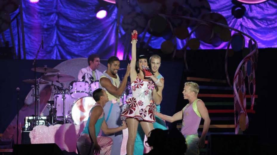 Katy Perry durante o show da turnê mundial The California Dreams Tour na Chácara do Jockey, em 25/09/2011