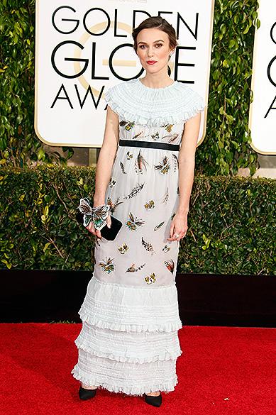 Keira Knightley durante 72ª edição do Globo de Ouro, prêmio da associação de correspondentes de Hollywood que elege os melhores do cinema e da TV, em Los Angeles, nos EUA