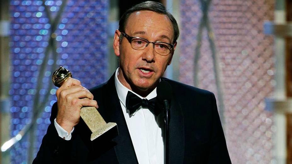 Kevin Spacey durante 72ª edição do Globo de Ouro, prêmio da associação de correspondentes de Hollywood que elege os melhores do cinema e da TV, em Los Angeles, nos EUA