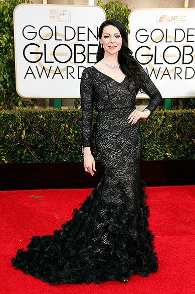 Laura Prepon durante 72ª edição do Globo de Ouro, prêmio da associação de correspondentes de Hollywood que elege os melhores do cinema e da TV, em Los Angeles, nos EUA