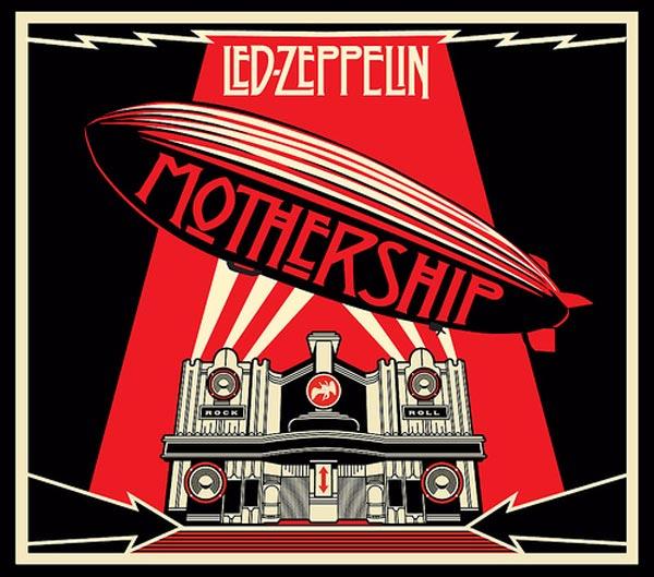 Capa de compilação Mothership, lançada em 2010 pela banda Led Zeppelin, criada por Shepard  Fairey