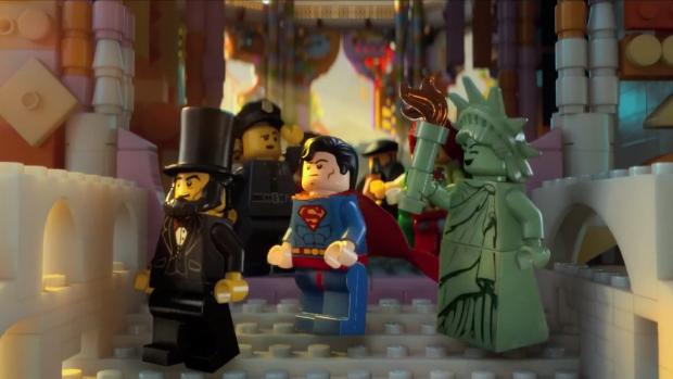Super-Homem versão lego em cena do filme <em>The Lego Movie</em>