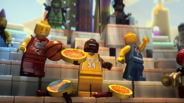 Jogadores de basquete em cena do filme <em>The Lego Movie</em>