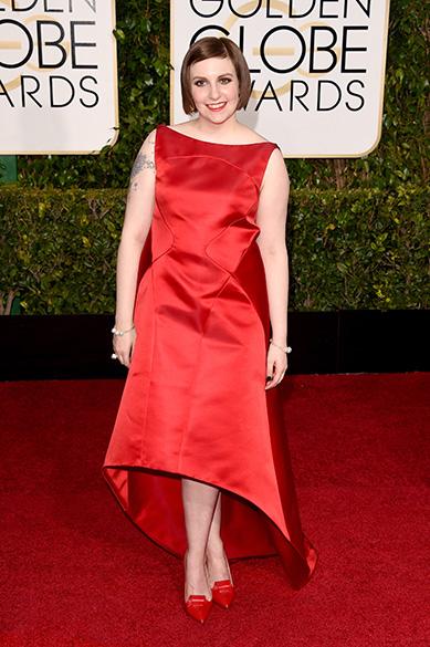 Lena Dunham durante 72ª edição do Globo de Ouro, prêmio da associação de correspondentes de Hollywood que elege os melhores do cinema e da TV, em Los Angeles, nos EUA