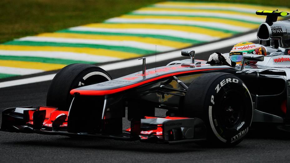 Lewis Hamilton durante o GP do Brasil de Fórmula 1, em Interlagos