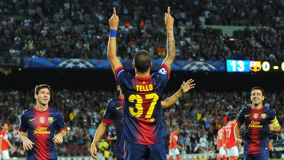 Cristian Tello comemora gol sobre o Spartak Moscou em partida válida pela primeira rodada da Liga dos Campeões da UEFA