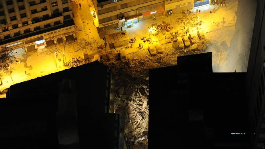 Local de desabamento de prédios, no centro do Rio