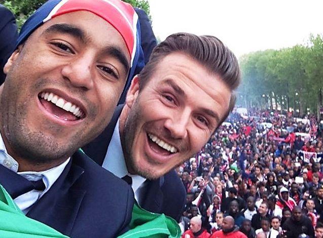Lucas e Beckham na festa do título do PSG