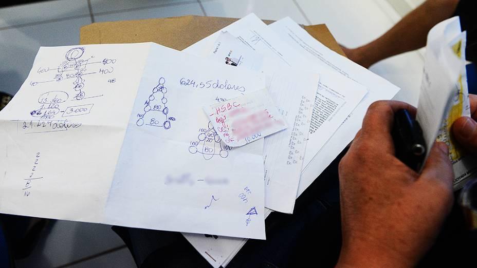 Anotações de uma das divulgadoras da TelexFree sobre a pirâmide financeira