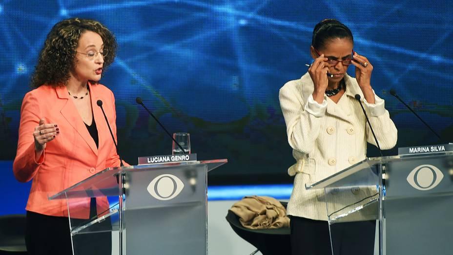 As candidatas à Presidência da República, Marina Silva (PSB) e Luciana Genro (PSOL), durante debate promovido pela Rede Bandeirantes, em 26/08/2014