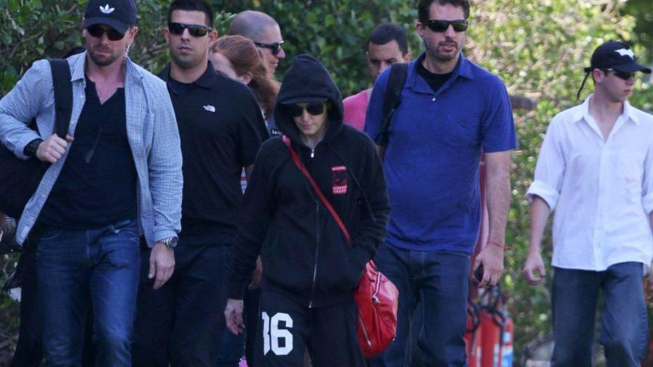 Madonna indo para o show de helicóptero, no Rio de Janeiro