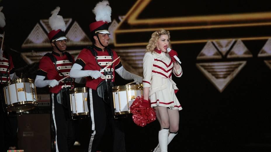 A popstar Madonna, durante sua apresentação da turnê MDNA no Rio