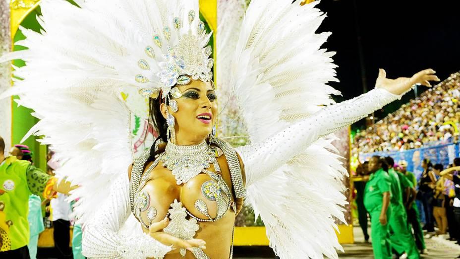 Destaque, durante o desfile da Mangueira pelo grupo especial do Carnaval do Rio de Janeiro,