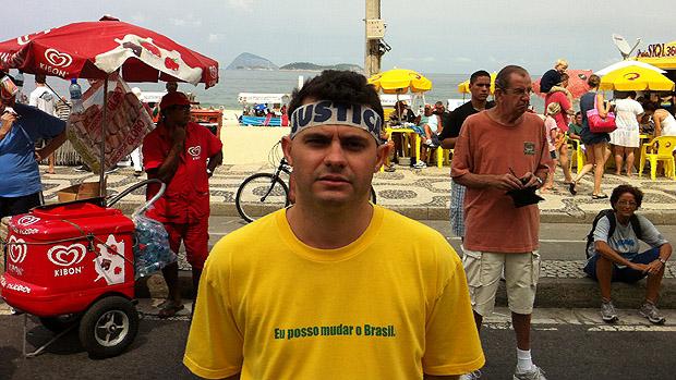 Paulo Mozzone, 33 anos durante manifestação contra a corrupção, no Rio de Janeiro