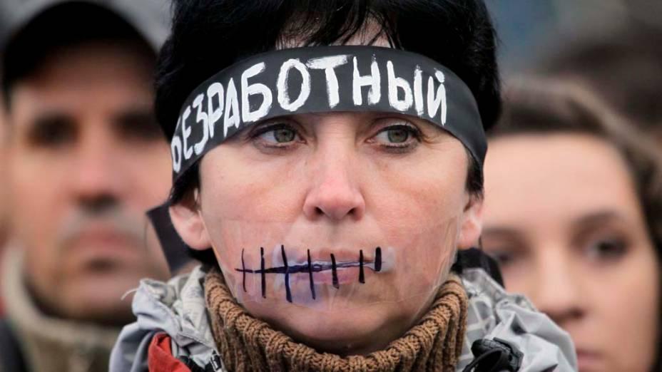 Manifestação em Kiev, Ucrânia, contra o aumento de impostos aprovado pelo governo na semana passada
