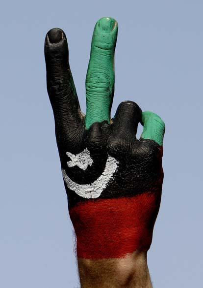 Protestos contra o ditador Muamar Kadafi, em Benghazi, Líbia