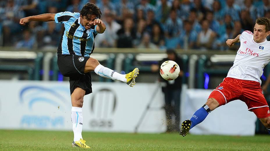 Marcelo Moreno durante partida do Grêmio contra o Hamburgo na inauguração da Arena em Porto Alegre