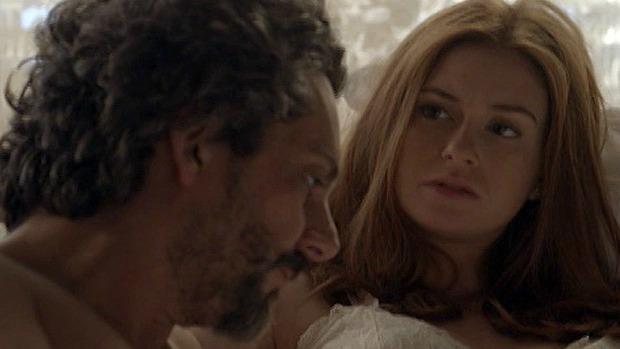 Maria Isis (Marina Ruy Barbosa) e Zé Alfredo (Alexandre Nero) em cena da novela Império, da TV Globo