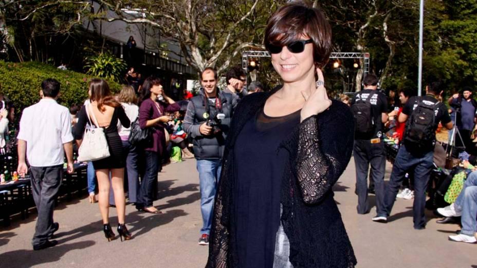 A atriz Maria Paula acompanhou o desfile da Cavalera nesta quarta, terceiro dia do SPFW