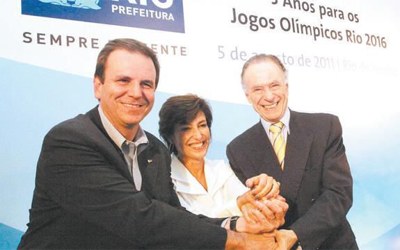 Nuzman na posse de Maria Silvia Bastos Marques na Empresa Olímpica Municipal, com Eduardo Paes