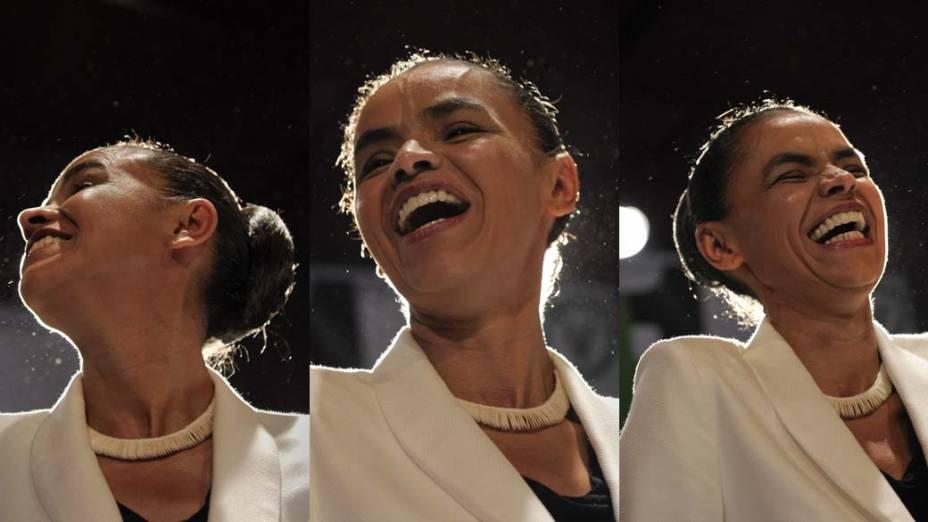 A candidata Marina Silva faz pronunciamento em São Paulo