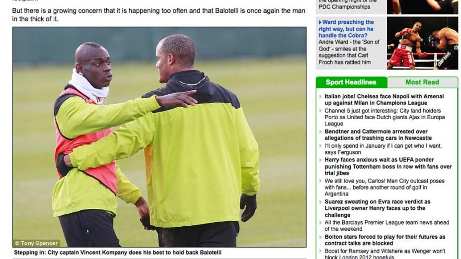 Sequência de fotos publicada no jornal Daily Mail, mostra Mario Balotelli, após briga no treino