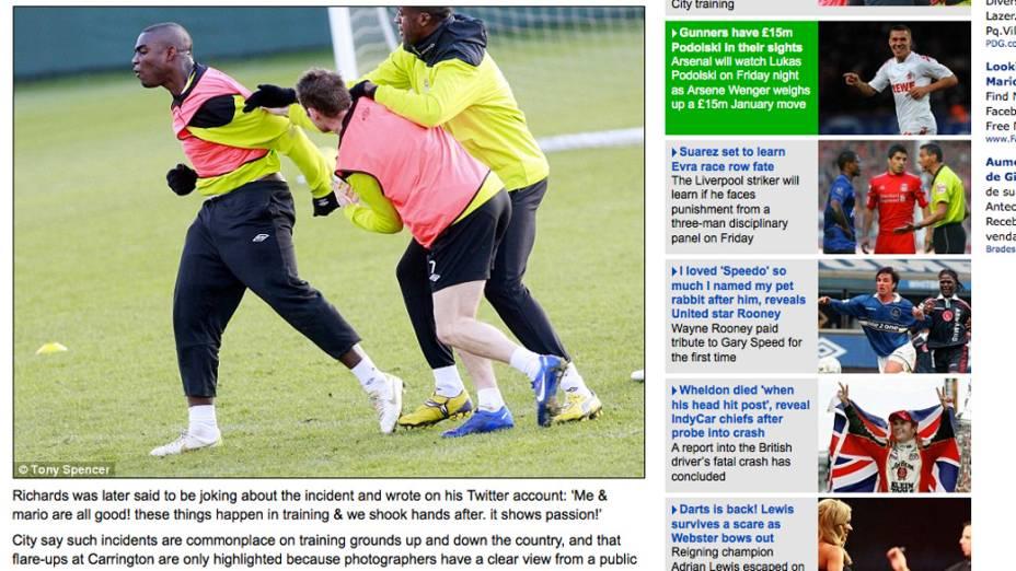 Sequência de fotos publicada no jornal Daily Mail, mostra Mario Balotelli sendo segurado pelo zagueiro Kompany, enquanto o meia Millner faz o mesmo com Richards