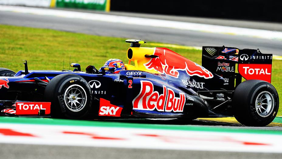 Mark Webber, da Red Bull, durante treino classificatório para o GP do Brasil