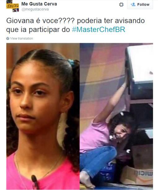 Daphne lembrou Giovanna, aquela que deixou cair um forninho em um vídeo que viralizou na internet