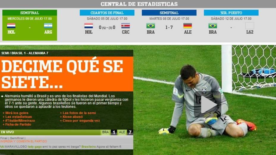 """""""Me diga como se sete"""", foi o trocadilho do jornal argentino Olé em sua edição digital"""