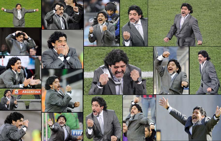 O técnico da Argentina, Diego Maradona, durante as partidas da primeira fase da Copa do Mundo