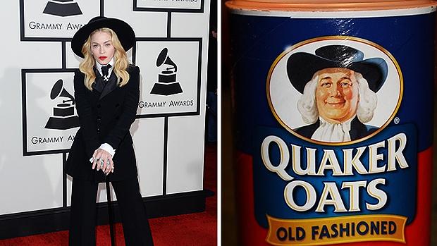 Look da cantora Madonna no Grammy é comparada à embalagem de produto alimentício